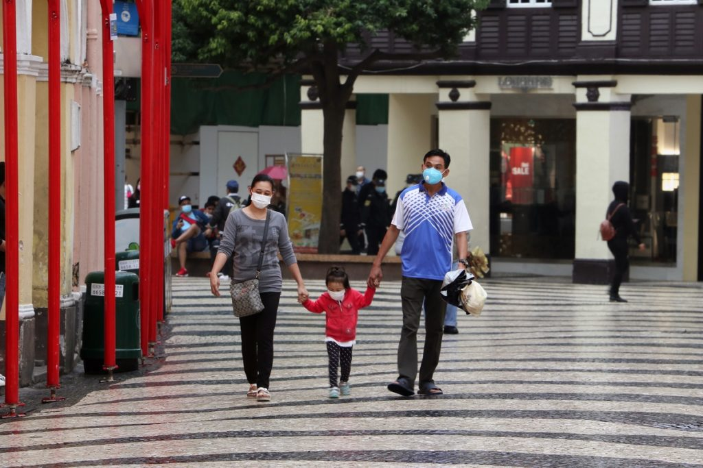 Family walking with face mask