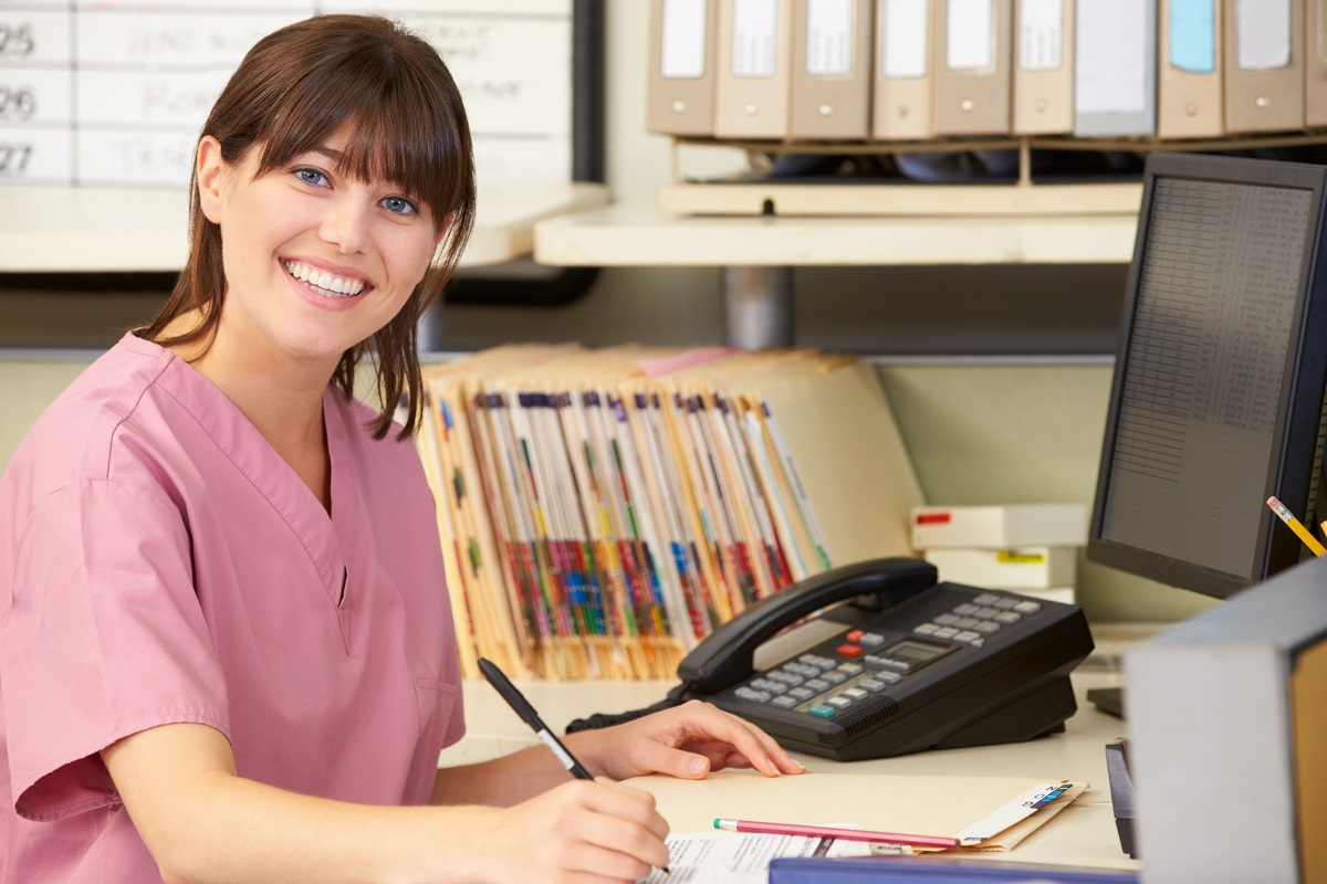 nurse at the front desk